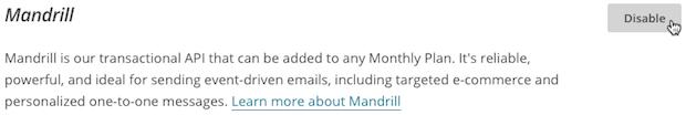 Cursor clicks Disable in Mandrill section.