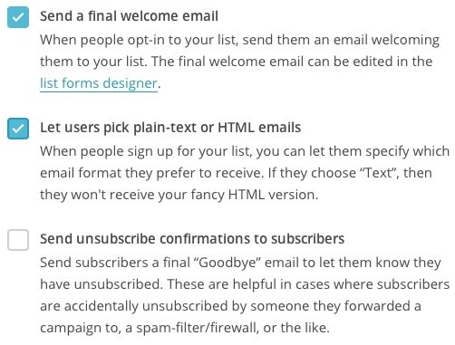 lists listnamedefaults subscriptionsettings