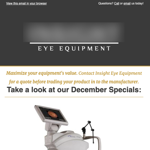 Image of medical equipment with text Take a look at our December specials