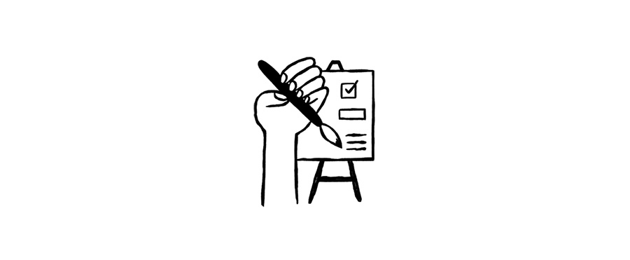 A drawing of a hand holding a paintbrush and checking off some boxes on a checklist.