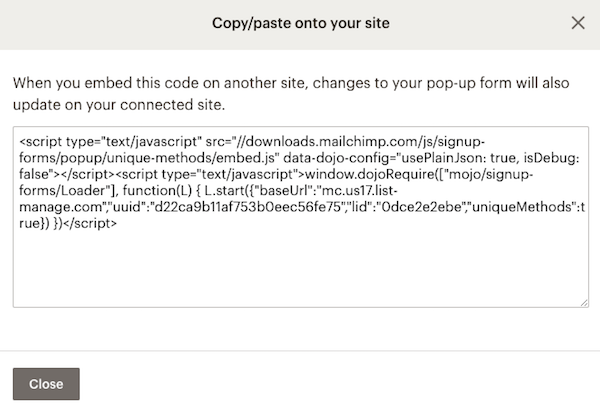 add a pop up signup form to your websitelists popupform copypastemodal
