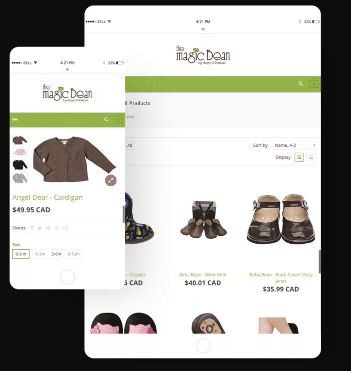 Image a web store on both a phone screen and tablet