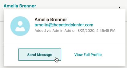 Hover menu send message button