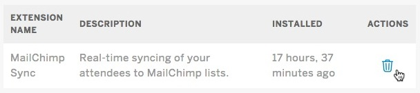 Cursor hovers over the trashcan icon for the Mailchimp Sync option.