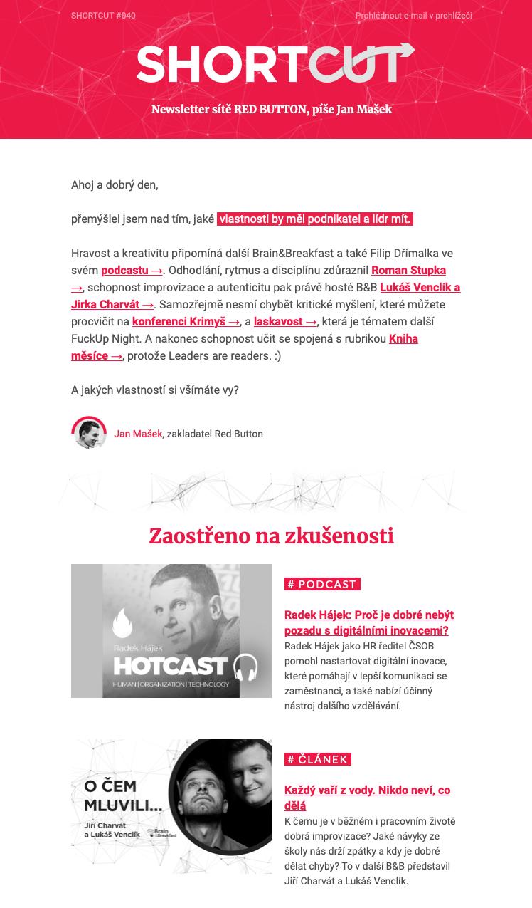 Image of Shortcut newsletter