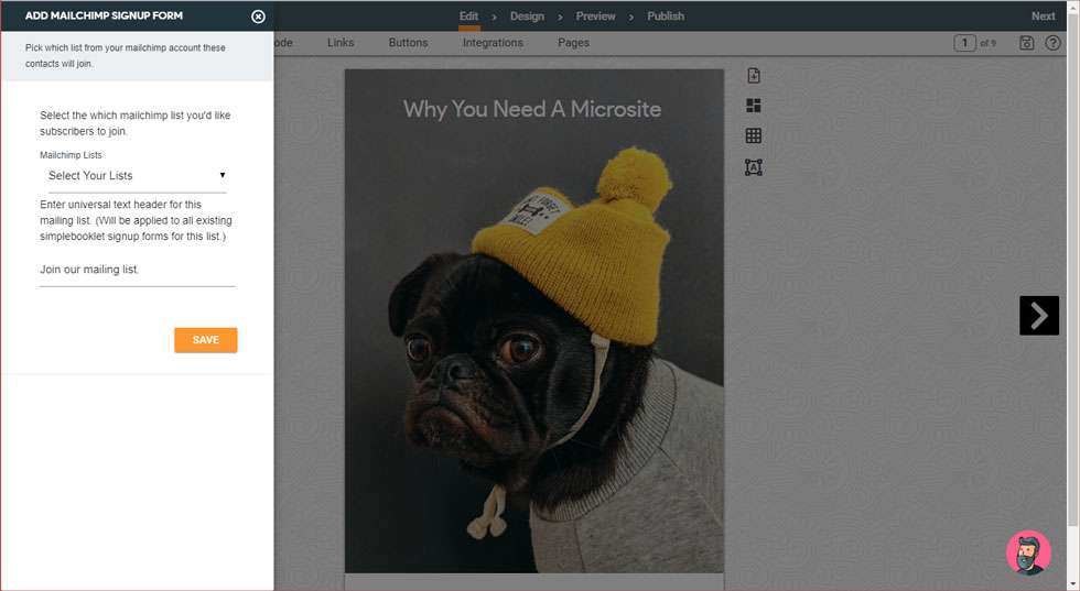 Image of a pug wearing a beanie with the text why you need a microsite. To the left of that there is text to add mailchimp signup form.