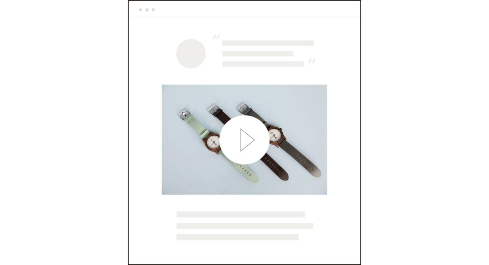 An image showing how a video might be used on a product page.