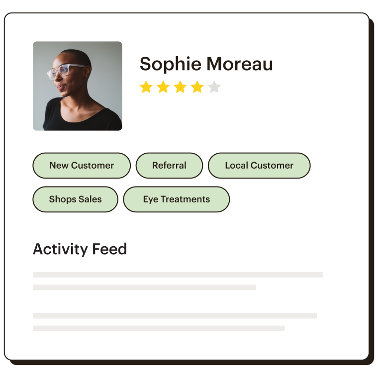 User profile for Sophie Moreau showing her tags and activity feed.