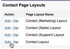 Cursor clicks Edit next to Contact Layout.