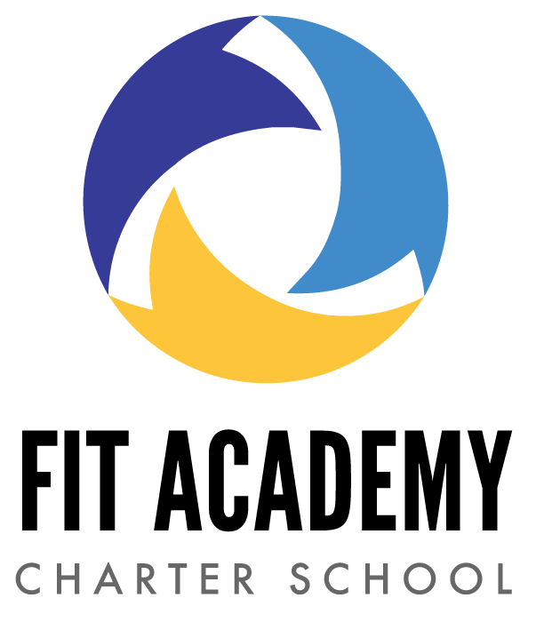 Logo for FIT Academy Charter School. Image of three shapes with colors navy, royal blue and yello forming a circle above the text.