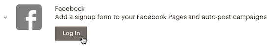 Facebook option on the Integrations page with the cursor over Log In button.