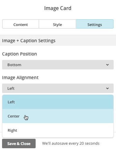 Set alignment on Image Card Settings
