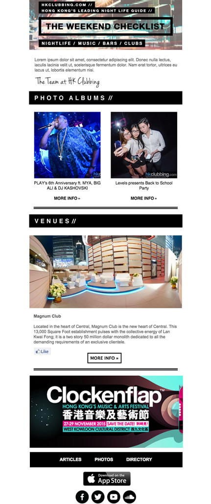 Image of clubbing newsletter