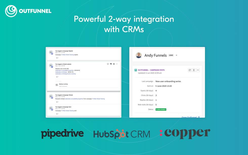 "Image of side-by-side screens with text ""Powerful 2-way integration with CRMs pipedrive, hubspot CRM, and copper"""