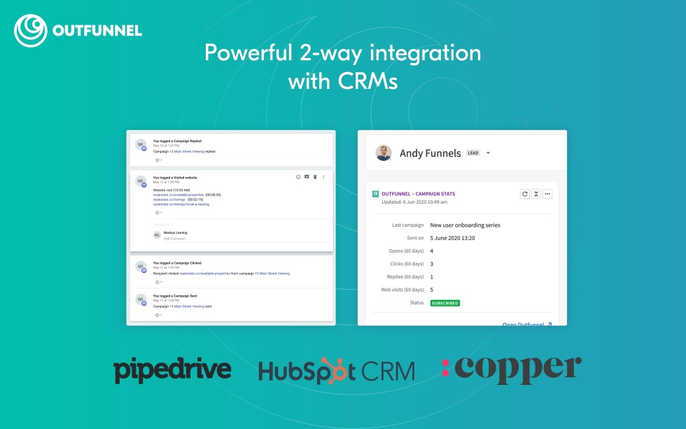 """Image of side-by-side screens with text """"Powerful 2-way integration with CRMs pipedrive, hubspot CRM, and copper"""""""