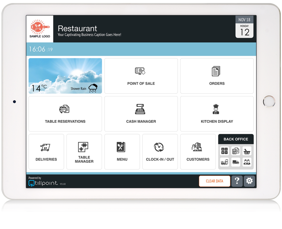 image of ipad with the Tillpoint management dashboard on the screen