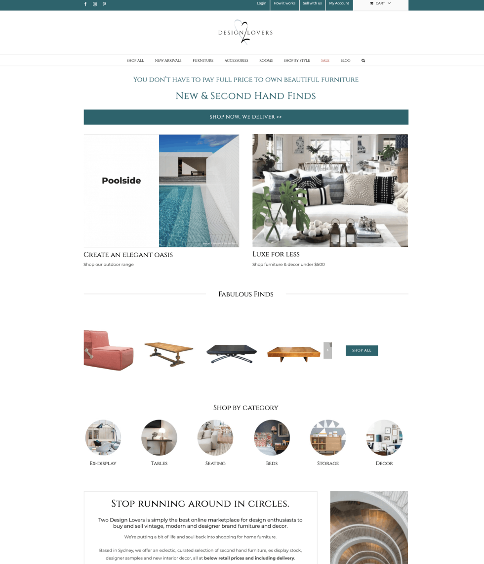 """Website homepage design for interior design company. White background featuring images of elegantly decorated home spaces. Images of furniture under """"Fabulous Finds"""" text. """"Shop by Category"""" featuring circular images labeled """"Tables"""" """"Seating"""" """"Beds"""" etc."""