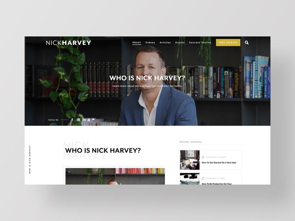 Image of Nick Harvey website