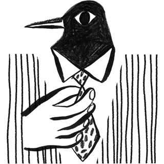 Penguin tightening his tie on his suit.