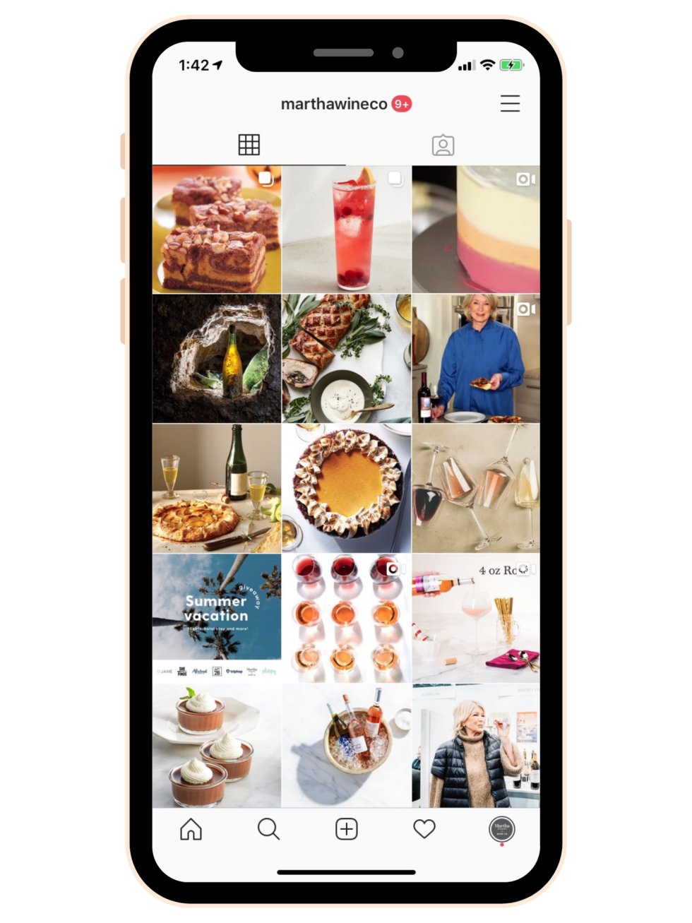 Mobile iPhone screenshot of Martha Stewart Wine Instagram page. Instagram photos include decorative photos of wine, cupcakes, Martha Stewart, and cocktails.