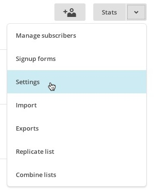 Choose Settings from the list drop-down menu