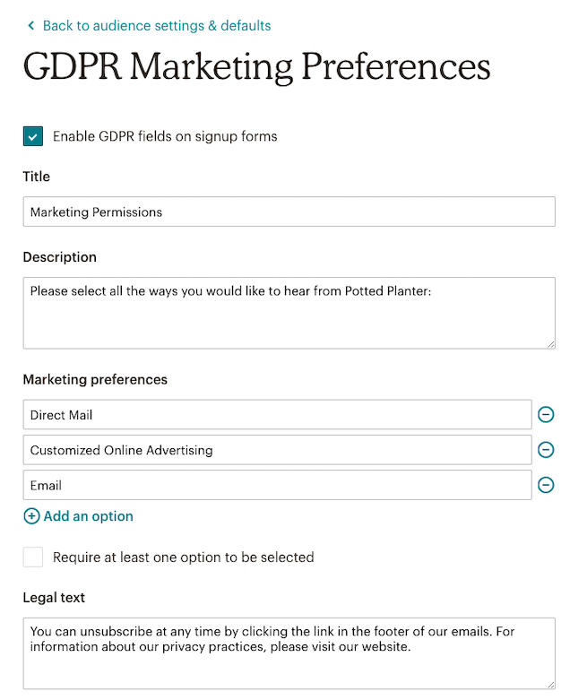 GDPR Marketing Preferences
