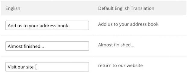 "Cursor types ""visit our site"" to replace default text."