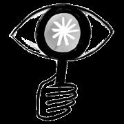 Eye looking through magnifying glass