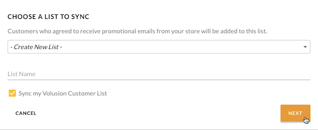 Mailchimp for Volusion - cursor clicks - choose a list