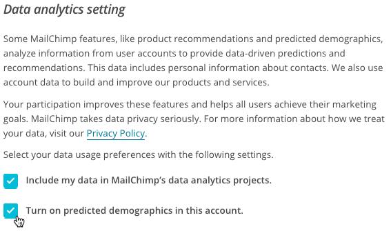 ajustes de datos marcar datos demográficos previstos
