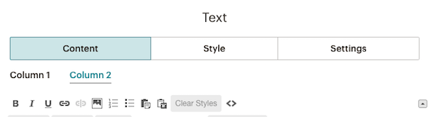 Toggle between Column 1 and Column 2 in Text block
