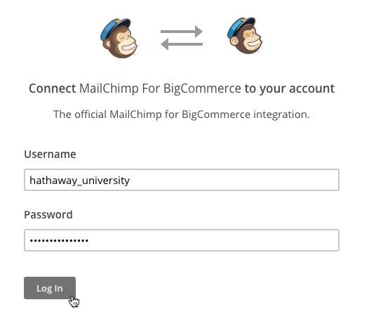 Image: a screenshot of Mailchimp's pop-up login window.
