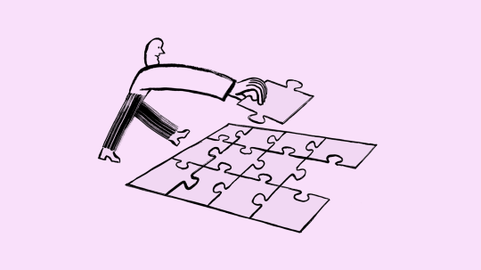 Illustration of a person putting a puzzle together