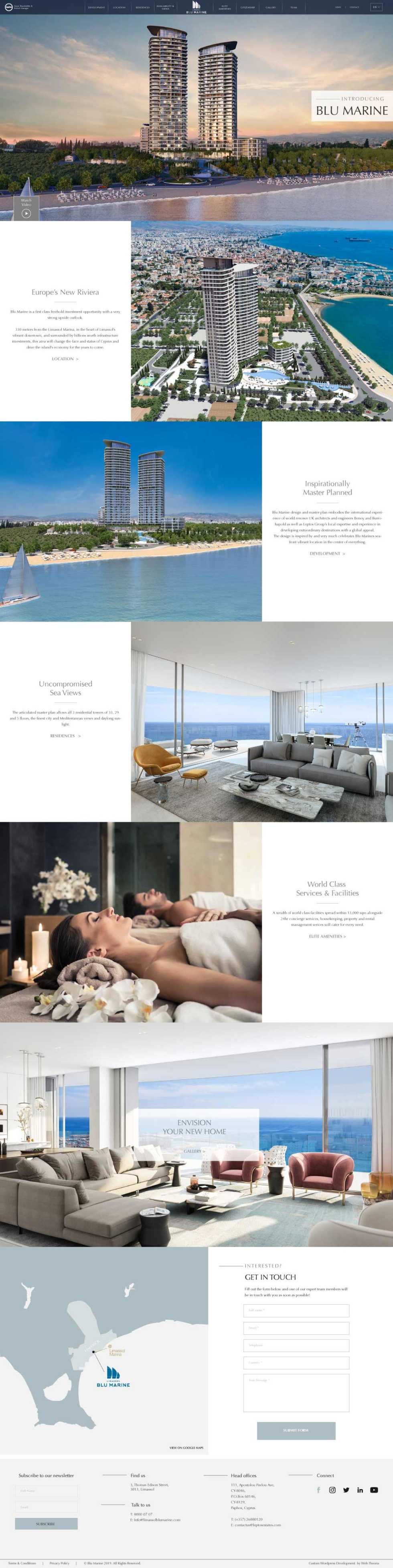 Template layout for luxury hotel company. Template can be broken down into 7 parts each containing a photograph of hotel amenities. Each section, aside from the image header and footer, are split into a section for a photograph and a section with a white background and descriptive black text.