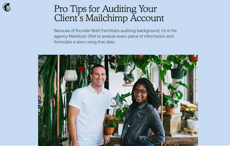 Image of Markitors founder on Mailchimp page with the text Pro Tips for auditing your Client's mailchimp account