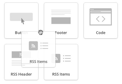 Click and drag RSS Items into campaign layout
