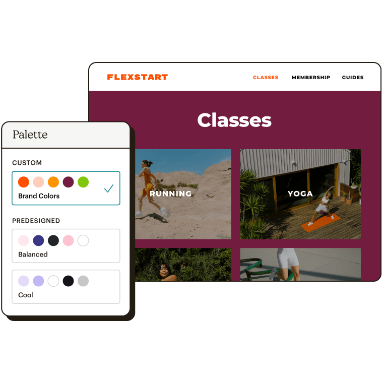 Abstract UI of choosing a custom or predesigned palette for a website called Flexstart