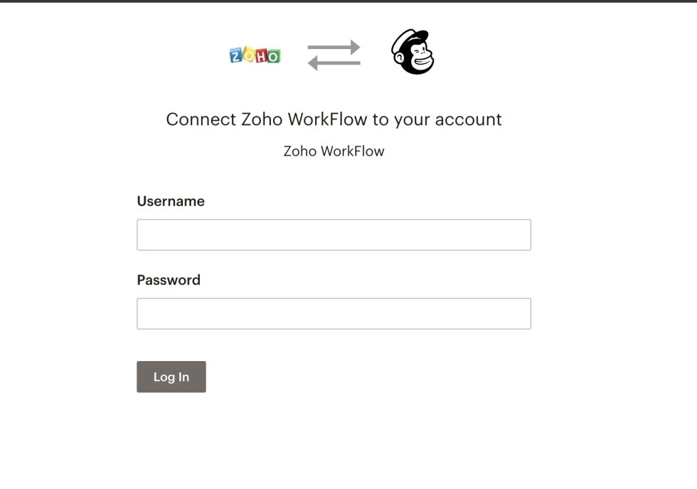 Image of connecting Zoho with Mailchimp