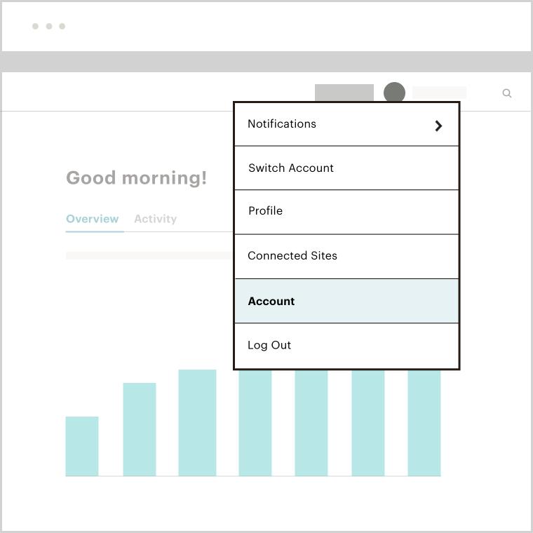 "A Mailchimp app menu dropdown that highlights the ""Account"" button"