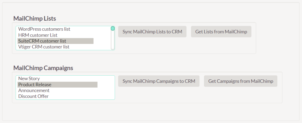 Image of Mailchimp lists and options to sync these lists to CRM