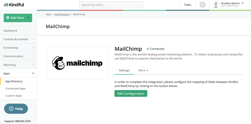Image of Kindful app directory showing Mailchimp