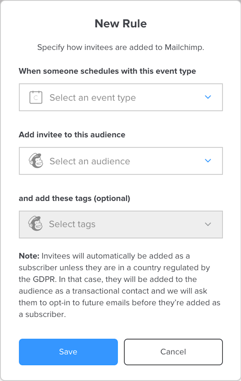 Create rules to add contacts with tags to your Mailchimp audience based on the type of event they book.