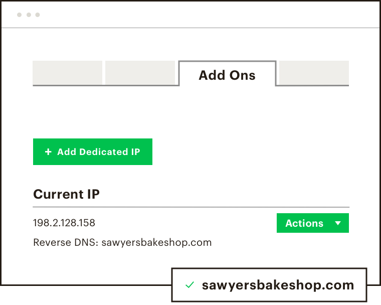 An example of where to add a dedicated IP within Mailchimp