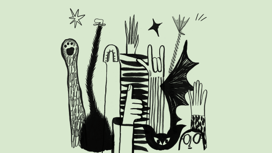 Illustration of animals and humans raising their hands