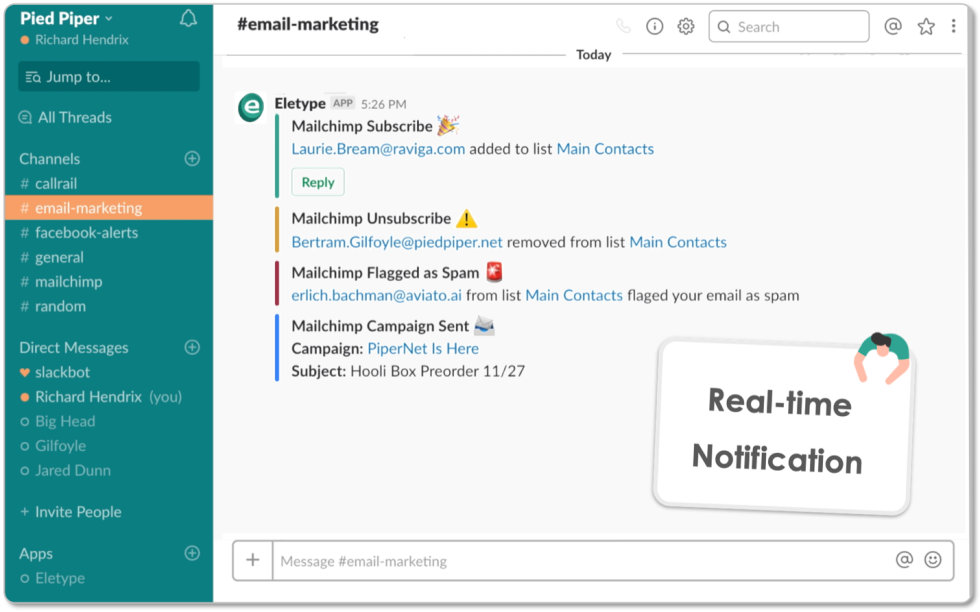 Eletype notification in Slack with Real-time Mailchimp notifications