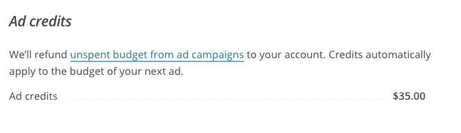 A screenshot of the ad credit section of account settings in Mailchimp.