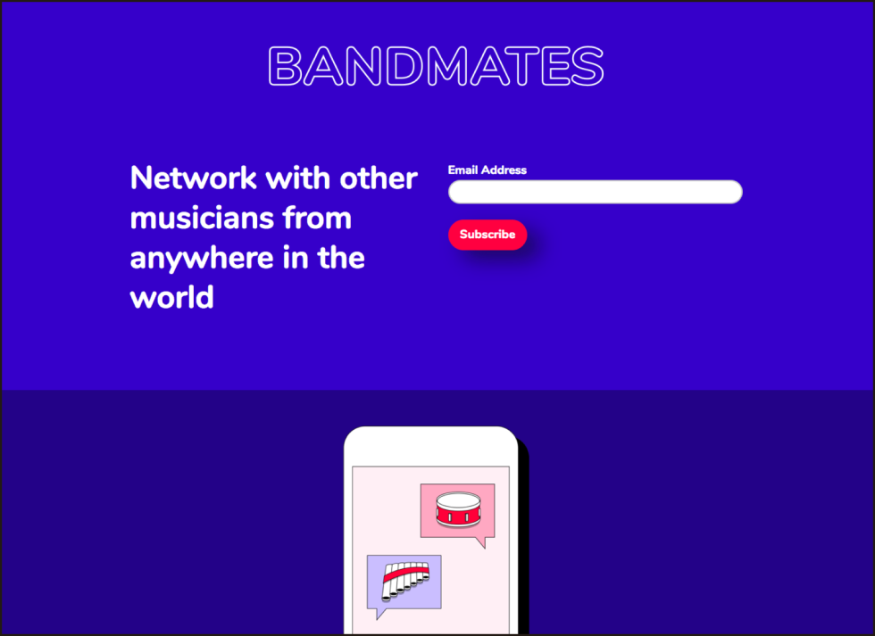Landing page with a signup form that reads network with other musicians from anywhere in the world