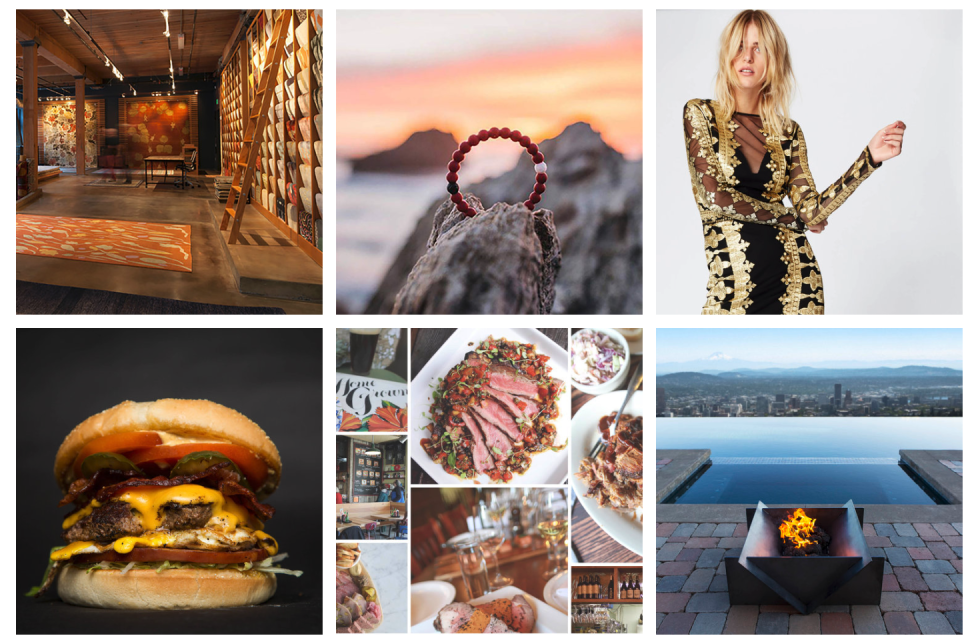 Image showing a cheeseburger, wine cellar, jewelry in front of the ocean, a woman posing for a picture, a fire in front of an infinity pool facing a skyline and a steak dinner.