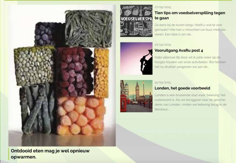 Screenshot of blog