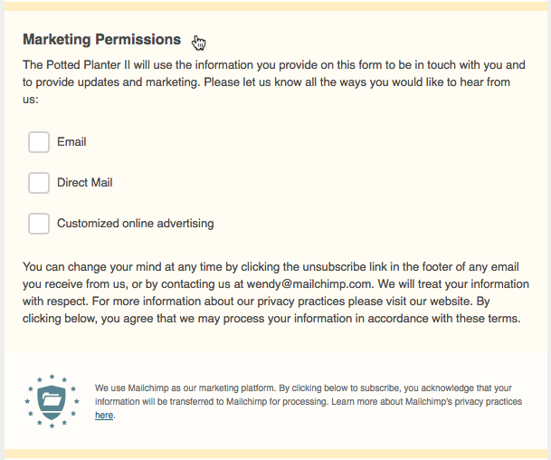 GDPR Fields MarketingPermissions